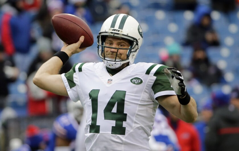 FILE - In this Jan. 3, 2016, file photo, New York Jets quarterback Ryan Fitzpatrick throws a pass before an NFL football game against the Buffalo Bills in Orchard Park, N.Y. A person familiar with the negotiations told The Associated Press on Friday night, May 27, 2016, that the Jets made a three-y