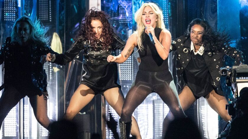"""Lady Gaga performs during the first weekend of the Coachella Valley Music and Arts Festival on Saturday. She'll be shooting scenes from """"A Star Is Born"""" this week on the festival grounds."""
