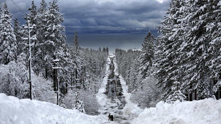 The recent storm dropped large amounts of snow along Ski Run Boulevard in South Lake Tahoe.