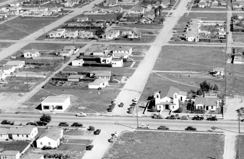 This 1945 Howard Rozelle aerial shows the original Saint Brigid church at Cass and Missouri streets.