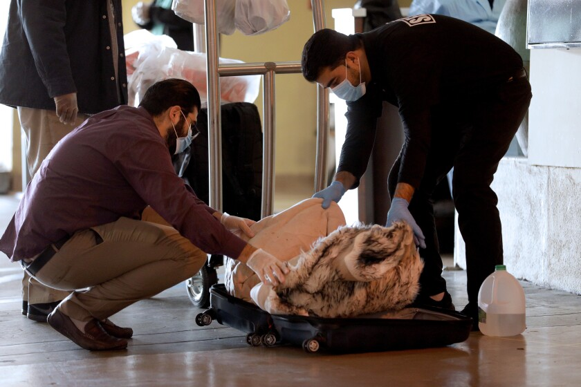 Two men wearing medical face masks look into a suitcase