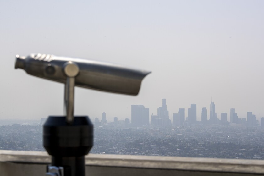 Hazy skies over the Los Angeles Basin in a view from the Griffith Observatory.