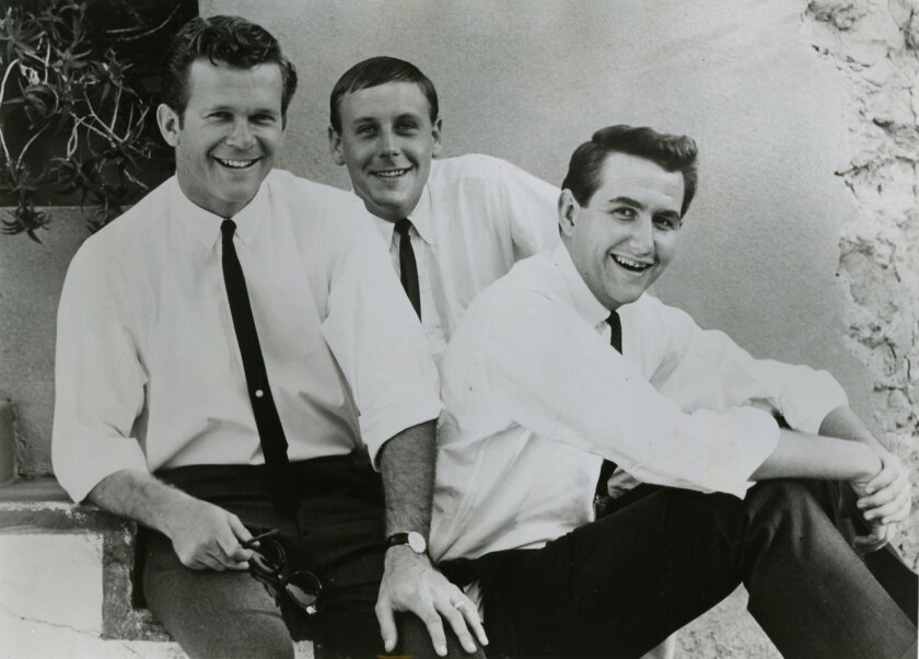 The Kingston Trio, shown here in the early 1960s, received a Lifetime Grammy Award Saturday. Bob Shane (left) is the only surviving original member. Nick Reynolds (center) and John Stewart (right), both San Diego natives, each died in 2008.