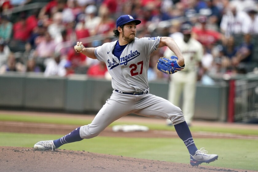 Trevor Bauer of the Dodgers pitches