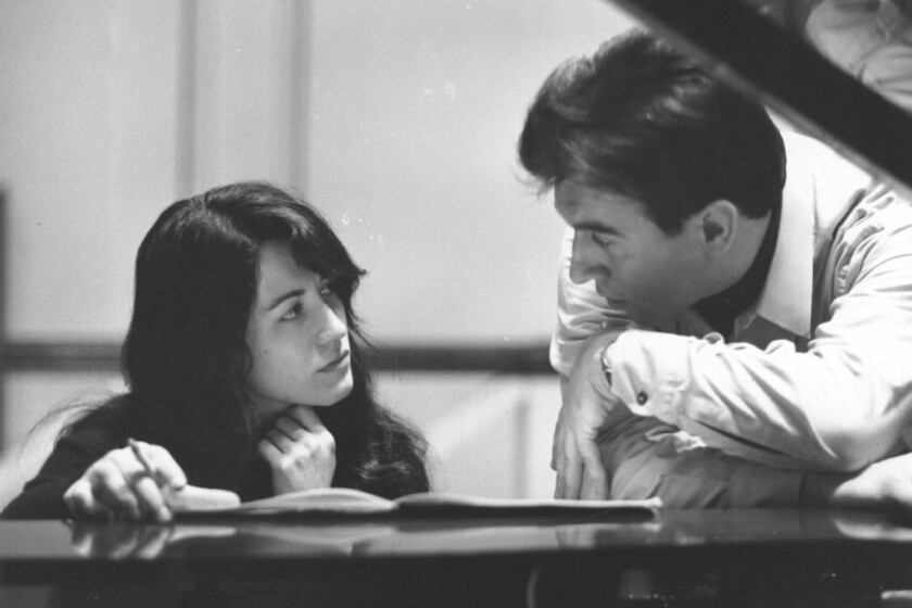 Italian conductor Claudio Abbado with Argentine pianist Martha Argerich in 1968 when they recorded concertos by Prokofiev and Ravel with the Berlin Philharmonic.
