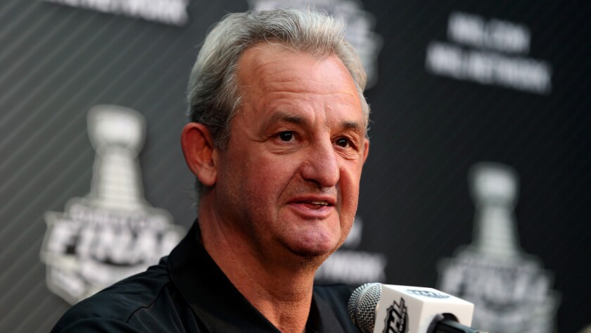Darryl Sutter speaks during a news conference at Staples Center on June 3, 2014. Sutter is joining the Ducks organization as an advisor.