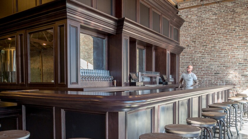 The bar area at Iron Triangle Brewing, a new brewery coming to the downtown L.A. Arts District in January.