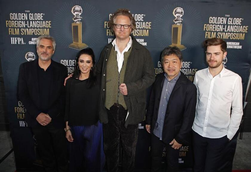 (L-R) Directors Alfonso Cuaron of Mexico, Nadine Labaki of Lebanon, Florian Henckel von Donnersmarck of Germany, Hirokazu Kore-eda of Japan, and Lukas Dhont of Belgium for the 2019 Golden Globe Foreign-Language Film Symposium at the Liaison Restaurant and Lounge, in Hollywood, California, USA. EFE