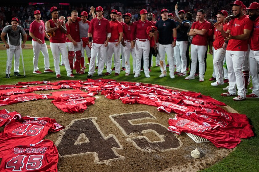 The Angels put their jerseys bearing the number and name of Tyler Skaggs on the mound.