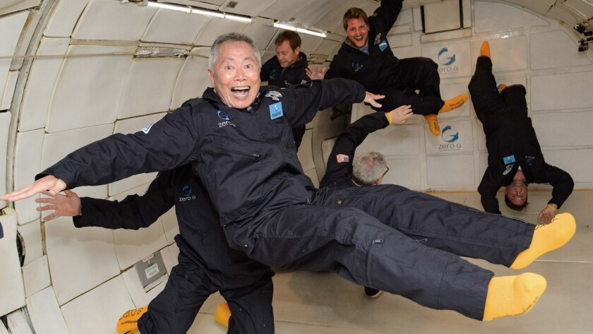 "Actor George Takei, who played Mr. Sulu on ""Star Trek,"" assumed the role of a weightless traveler la"