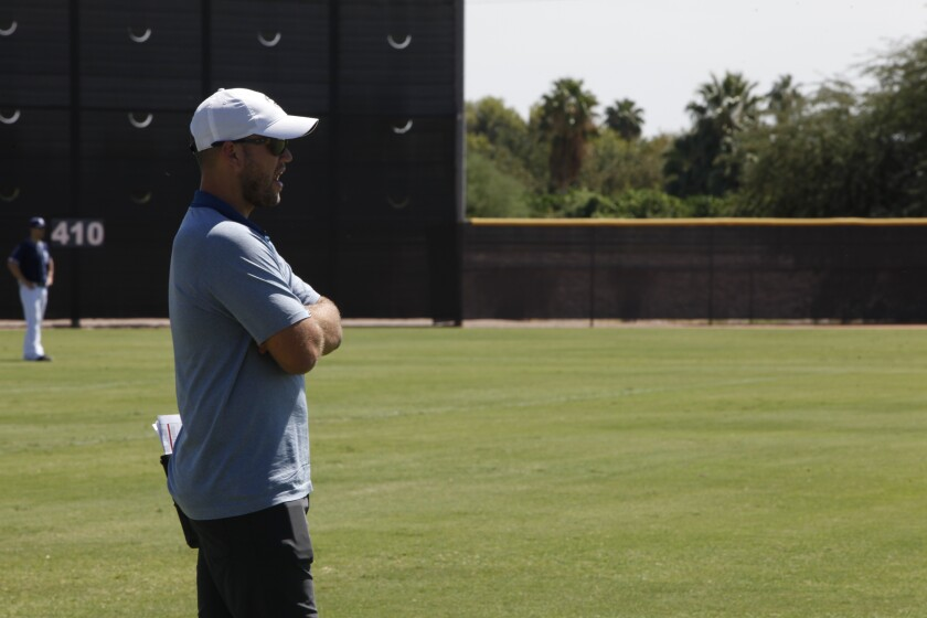 Sam Geaney looks on during the 2016 Padres Instructional League in Arizona.