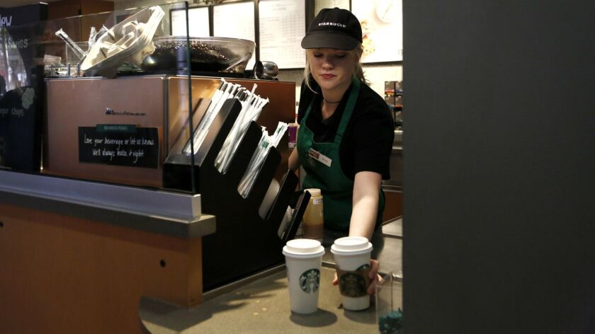 BURBANK, CA: February 23, 2017- Emily Hatfield, 23, from Kansas, works as a barista at the Starbucks