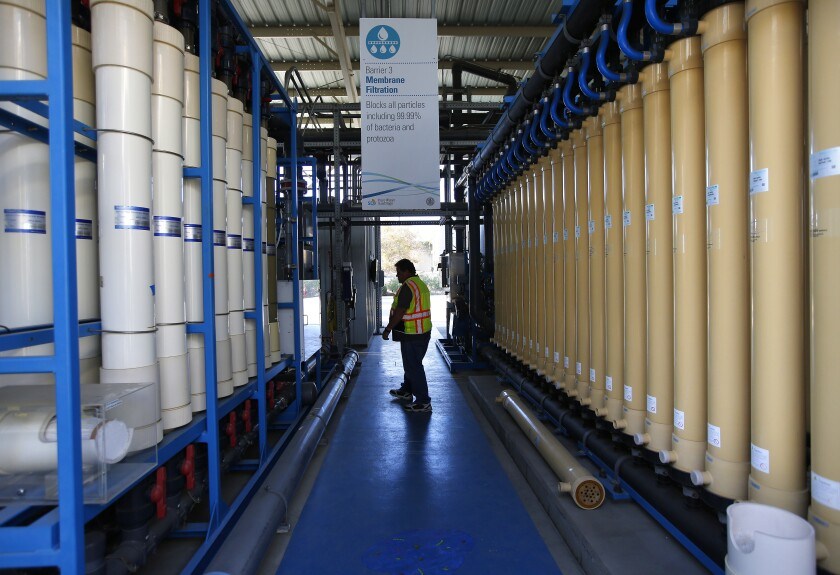 David Mills, senior plant tech supervisor, walks through the membrane filtration columns at the Pure Water Demonstration Facility in San Diego on Nov. 5, 2019.