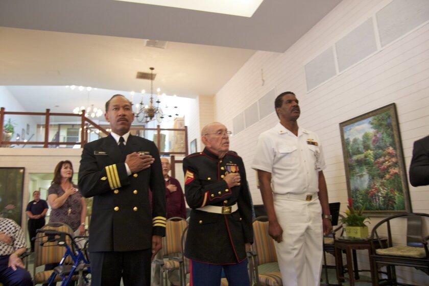 Reg Webster, USN (Ret), Clift Laperruque, Marine Corps WWII veteran, and Eddie Trotter, USN (Ret)