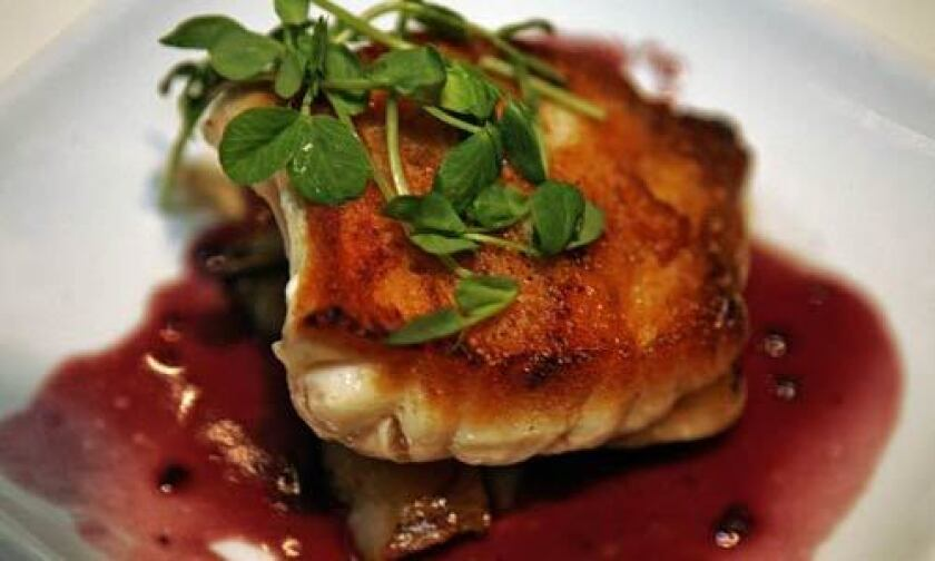 Blue-nose sea bass with braised sunchokes in red wine sauce.