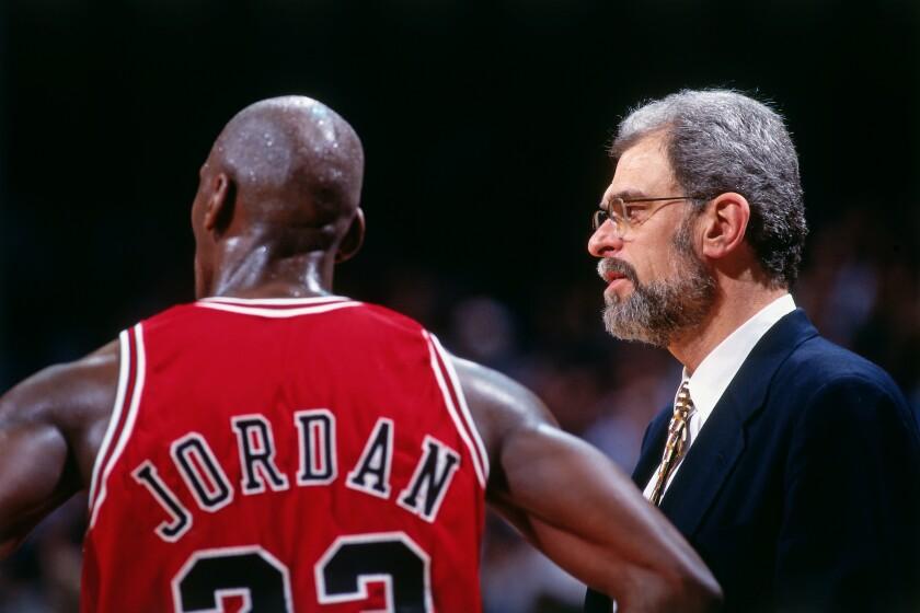Michael Jordan and Bulls coach Phil Jackson in 1996.