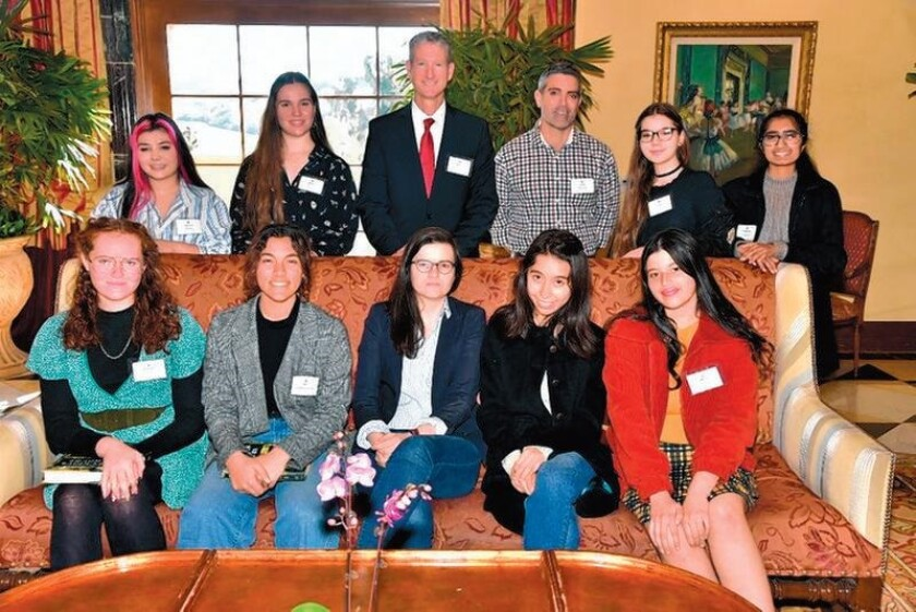 Canyon Crest Academy students and staff at the event with the author: (Standing): Amelia Bolaris, Abby Fraser, principal Brett Killeen, teacher Gary Malanga, Lily Pfeizer, Meghana Enugurthi. Seated: Rachael Cheverton, Zoe Sandberg Smith, author Casey Cep, Natalie Norton, Bella Braun