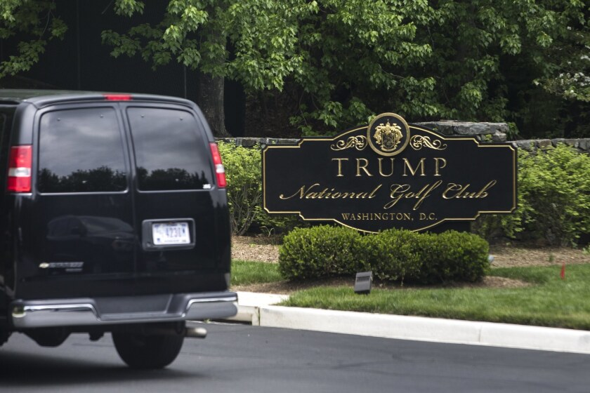 President Trump's motorcade arriving at the Trump National Golf Club in Sterling, Va. Such trips use government funds to patronize the president's private businesses.