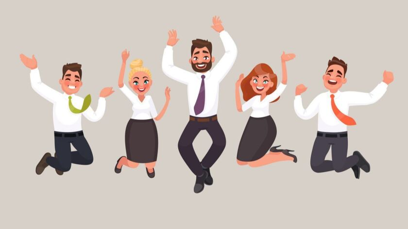 Business people are jumping, celebrating the achievement of victory. Happy office workers. Vector illustration in cartoon style