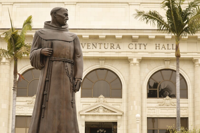 The bronze statue of Father Junípero Serra  in front of Ventura City Hall.