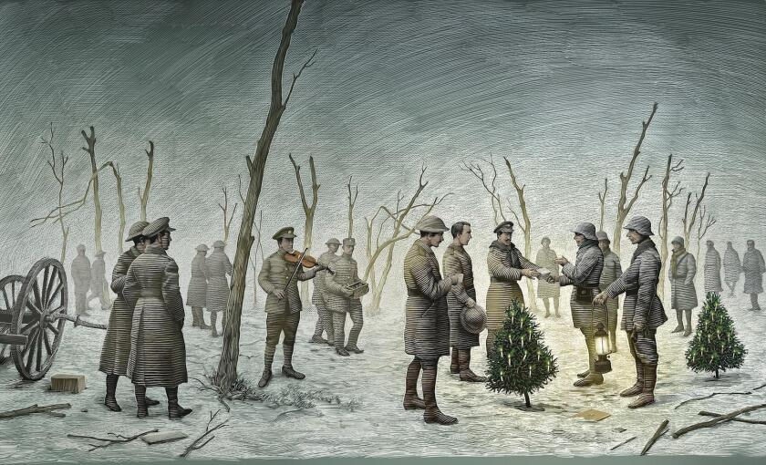 'All Is Calm: The Christmas Truce of 1914,' illustration by Scott McKowen