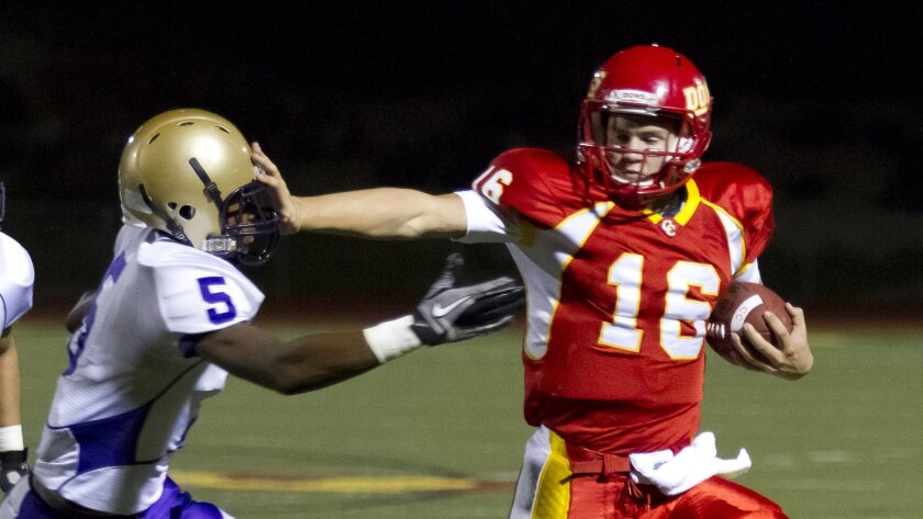 Cathedral Catholic quarterback Garrett Bogart is mobile, but he also threw for 19 touchdowns last season.