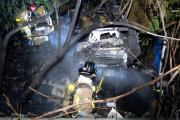 Travel trailer and large storage shed goes up in flames
