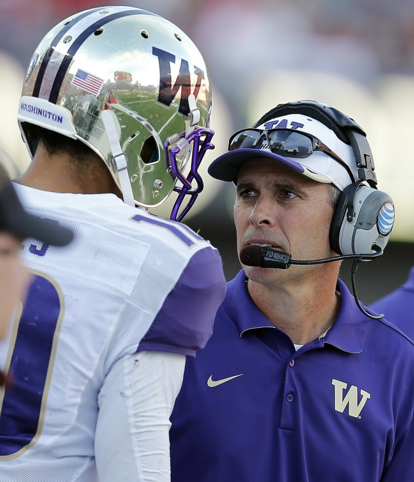 ADVANCE FOR WEEKEND EDITIONS, AUG. 29-30 - FILE - In this Nov. 15, 2014, file photo, Washington head coach Chris Petersen talks on then sideline during the first half of an NCAA college football game against Arizona in Tucson, Ariz. On Sept. 4, 2015, Peterson will return to Boise State where he coached for 13 years, as he leads Washington in their first game of the 2015 season. Surely, his return will be welcome, for awhile. (AP Photo/Rick Scuteri, File)