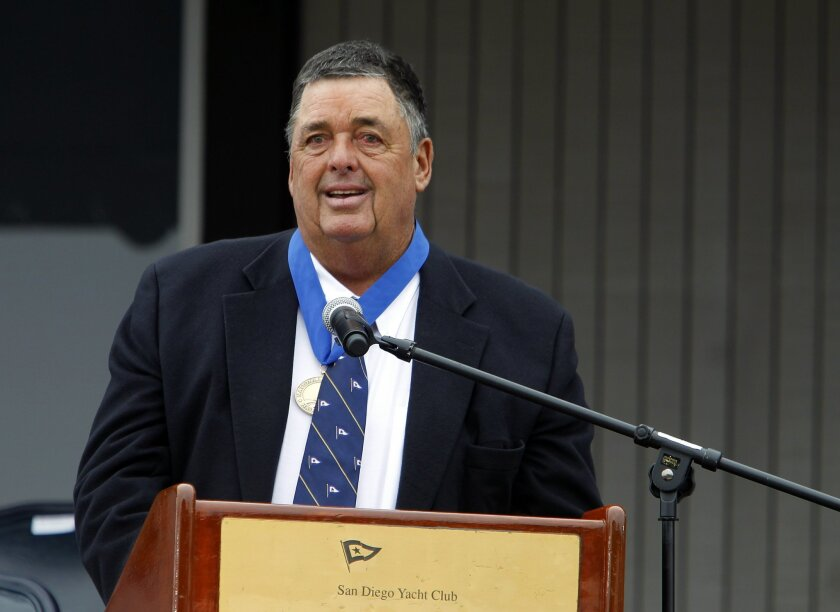 Dennis Conner shown in October 2011 being inducted into the National Sailing Hall of Fame at the San Diego Yacht Club.