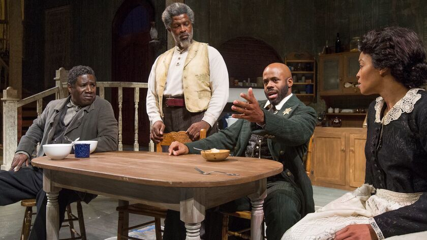 "Cast members, from left to right, Cleavant Derricks, Matt Ordu–a, Arnell Powell and Shinelle Azoroh rehearse ""Gem of the Ocean"" at South Coast Repertory in Costa Mesa."