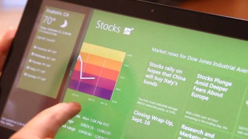 Windows 8 running on a tablet.