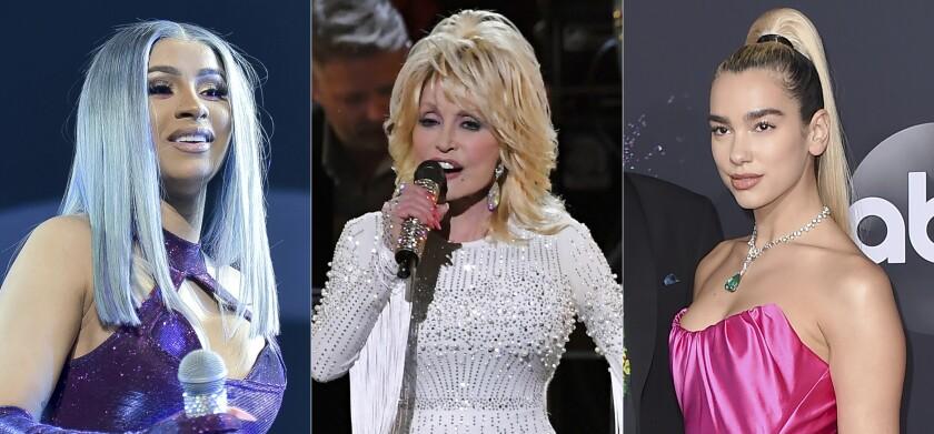 Cardi B , Dolly Parton y Dua Lipa