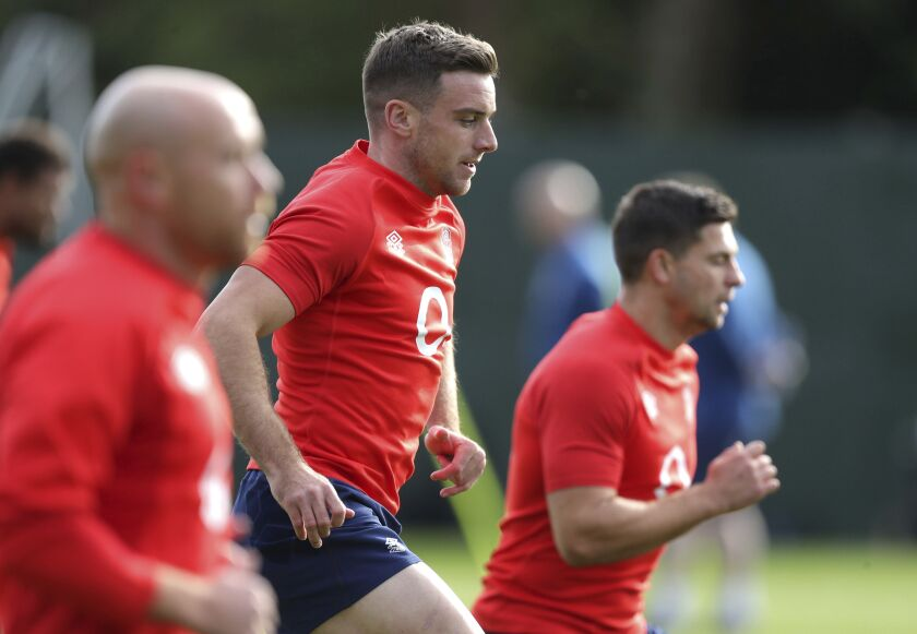 England's George Ford, center, attends a training session at The Lensbury, London, Wednesday Oct. 7, 2020. (Andrew Matthews/Pool via AP)