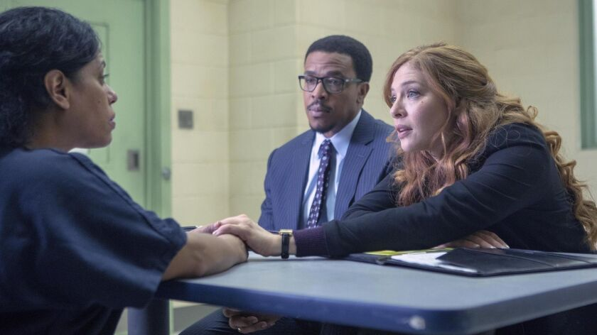 """PROVEN INNOCENT: L-R: Guest star Liza Colón-Zayas, Russell Hornsby and Rachelle Lefevre in the """"Pi"""