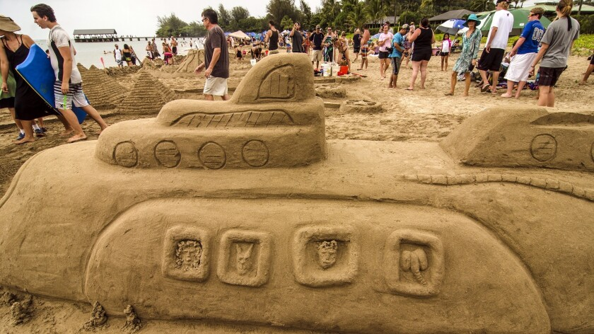 It's a sand submarine, not a yellow submarine, from a past festival.