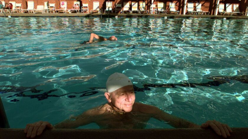 ME.Leisure.Swimmer.030399.MB––(Laguna Hills)–Leisure World resident Jerry Wyss enjoyed the pool at L