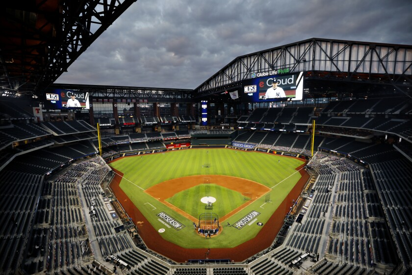 The roof is open at Globe Life Field in Arlington, Texas, before the San Diego Padres played the Dodgers.
