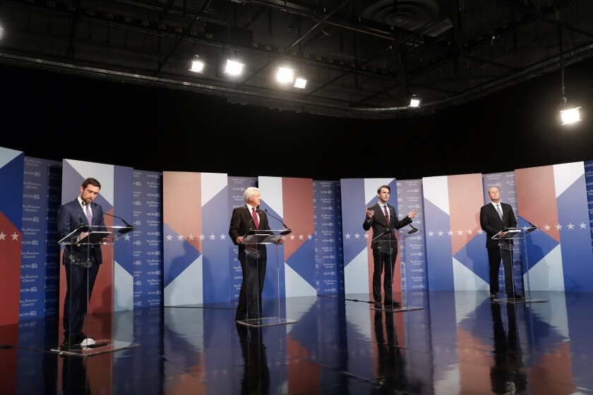 Recall candidates Kevin Paffrath, left, John Cox, Kevin Kiley and Kevin Faulconer