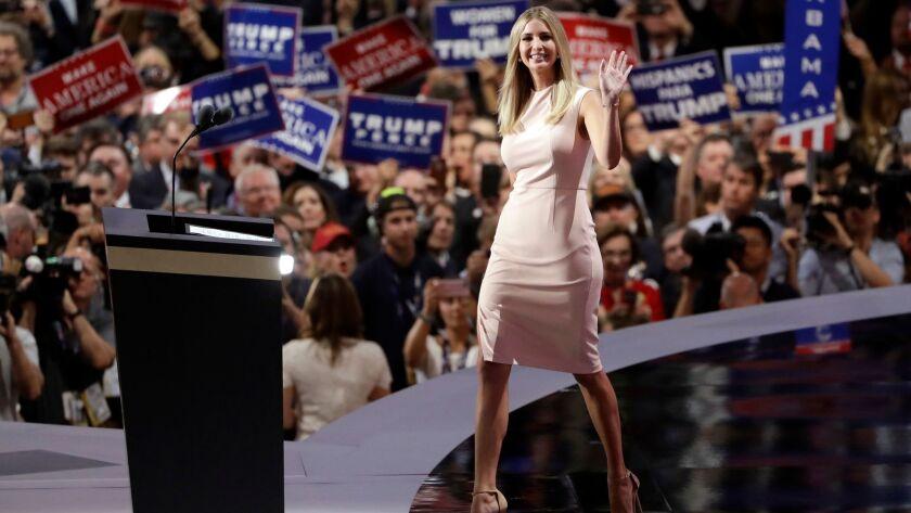Ivanka Trump wears a blush-colored sleeveless sheath dress from her line.