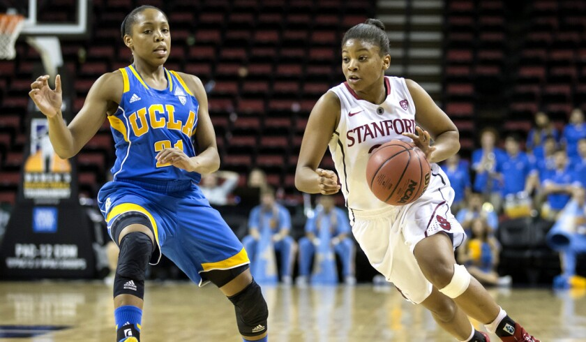 Stanford's Amber Orrange, right, dribbles the ball up court as UCLA's Nirra Fields defends during the Cardinal's 67-62 victory over the Bruins.