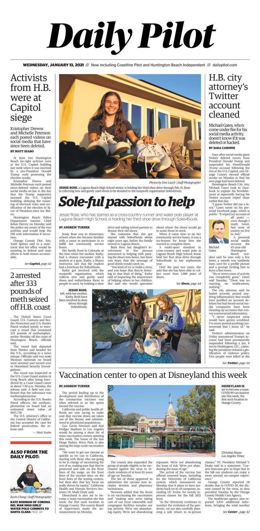 Front page of Wednesday's Daily Pilot.