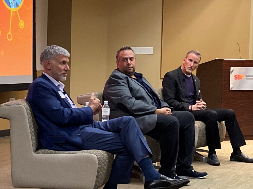 Dr. Andrew Lowy, researcher Cosimo Commisso and patient Russell Gold share the latest about pancreatic cancer research at a Sanford Burnham Prebys panel on Nov. 21.