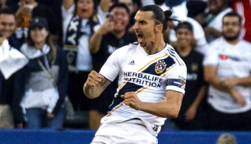 Galaxy forward Zlatan Ibrahimovic scored a hat trick in the Galaxy's 3-2 win over LAFC on Friday.