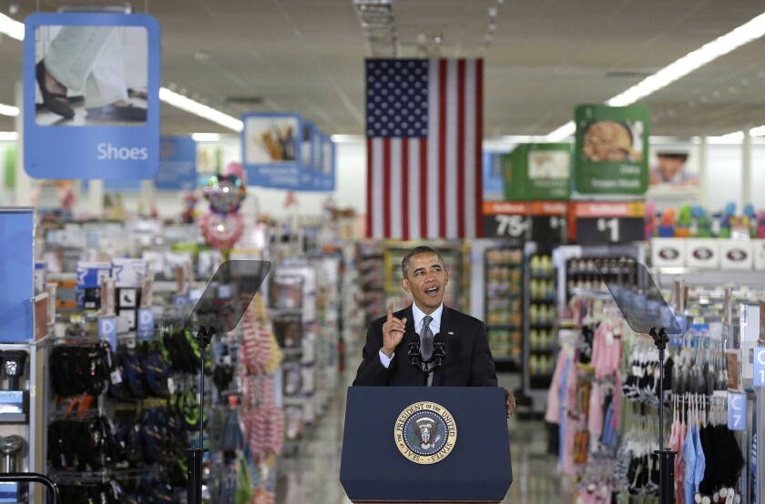 President Obama speaks at a Wal-Mart store in Mountain View, Calif.