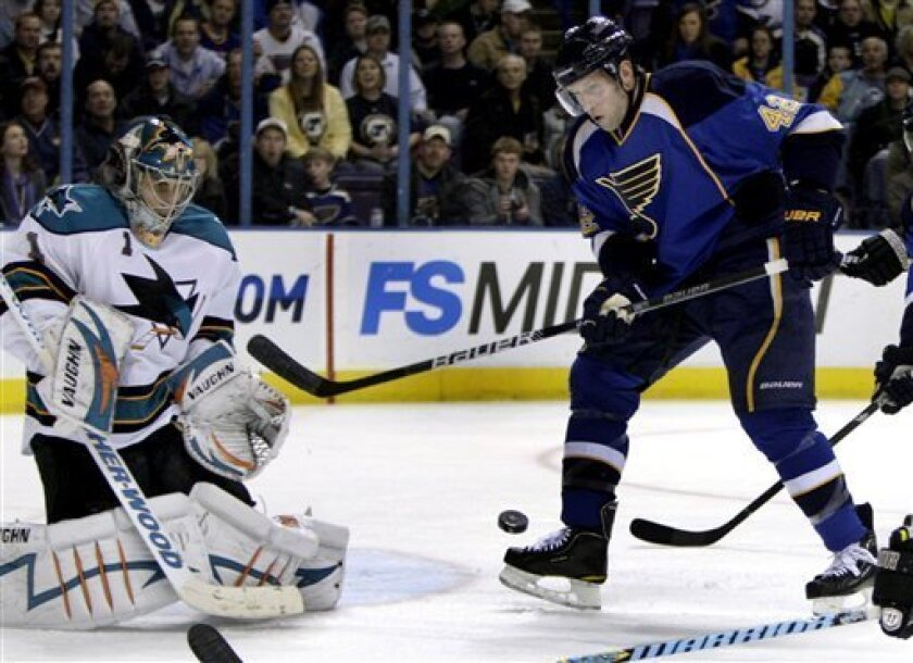 St. Louis Blues' David Backes, right, can't get his stick on a puck in front of the net as San Jose Sharks goalie Thomas Greiss, of Germany, defends during the second period of an NHL hockey game Thursday, Feb. 4, 2010, in St. Louis. (AP Photo/Jeff Roberson)