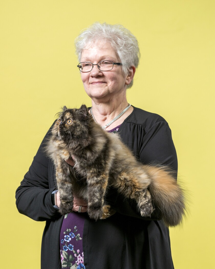 Bobbi Wilfon holds her Persian cat named Isabella.