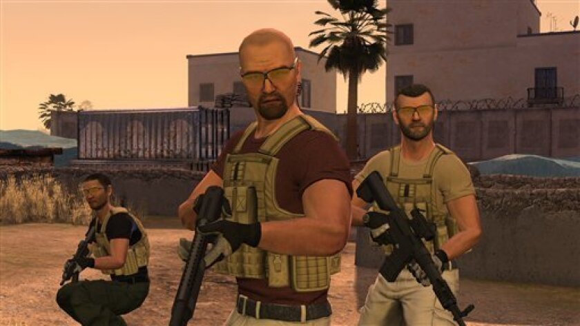 """In this video game image released by 505 Games/Zombie Studios, a scene is shown from the game """"Blackwater,"""" based on the controversial North Carolina security firm. Blackwater is trading real battlefields for a virtual one with the upcoming release of """"Blackwater,"""" a first-person shooter for Xbox 360's Kinect motion-sensing system that will attempt to give players a feel of what it's like to be a private military contractor. (AP Photo/505 Games/Zombie Studios)"""