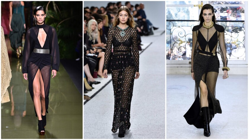 Sheer and see-through looks from (left to right) Balmain, Giambattista Valli and Louis Vuitton.
