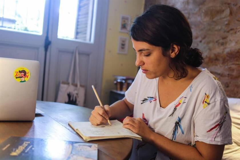 The Uruguayan illustrator on sketch pads and audiovisuals, Sabrina Perez, seen in Montevideo on March 8, 2019, and whose work will go on show at the Bologna Children's Book Fair, told EFE that her creative process is like working in a factory, but one that manufactures pictures. EFE-EPA/Patricia Cotelo