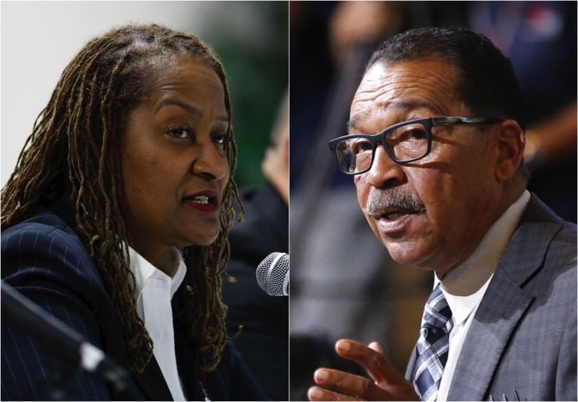 Diptych of L.A. County supervisor candidates Holly Mitchell and Herb Wesson